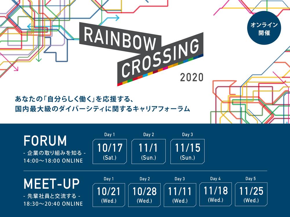 あなたの「自分らしく働く」を応援する、国内最大級のダイバーシティに関するキャリアフォーラム「RAINBOW CROSSING 2020」開催!!